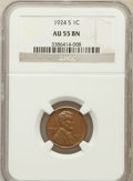 Lincoln Cents: , 1924-S 1C AU55 NGC. NGC Census: (18/131). PCGS Population (49/183).Mintage: 11,696,000. Numismedia Wsl. Price for problem ...
