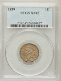 Indian Cents: , 1859 1C XF45 PCGS. PCGS Population (159/1937). NGC Census: (1/20).Mintage: 36,400,000. Numismedia Wsl. Price for problem f...