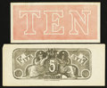 Confederate Notes:Group Lots, $5 Chemicograph Back Intended for Confederate Currency and More..... (Total: 2 notes)
