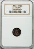 Proof Seated Half Dimes: , 1866 H10C PR64 NGC. NGC Census: (58/33). PCGS Population (58/32).Mintage: 725. Numismedia Wsl. Price for problem free NGC/...
