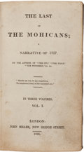 "Books:Literature Pre-1900, [James Fenimore Cooper]. The Last of the Mohicans. ANarrative of 1757. By the Author of ""The Spy,"" ""The Pio...(Total: 3 Items)"