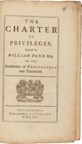 Books:Americana & American History, [Ben Franklin, publisher]. [Pennsylvania]. The Charter of Privileges granted by William Penn, Esq., to the Inhabitants o...