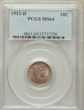 Barber Dimes: , 1912-D 10C MS64 PCGS. PCGS Population (74/38). NGC Census: (75/32).Mintage: 11,760,000. Numismedia Wsl. Price for problem ...
