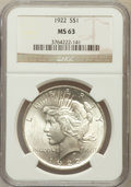 Peace Dollars, 1922 $1 MS63 NGC. NGC Census: (66351/94668). PCGS Population(52934/47622). Mintage: 51,737,000. Numismedia Wsl. Price for ...