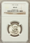 Washington Quarters: , 1951-D 25C MS65 NGC. NGC Census: (531/755). PCGS Population(848/512). Mintage: 35,354,800. Numismedia Wsl. Price for probl...