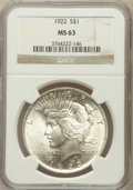 Peace Dollars: , 1922 $1 MS63 NGC. NGC Census: (66629/94814). PCGS Population(52993/47661). Mintage: 51,737,000. Numismedia Wsl. Price for ...