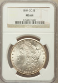Morgan Dollars: , 1884-CC $1 MS64 NGC. NGC Census: (7722/5053). PCGS Population(15191/8539). Mintage: 1,136,000. Numismedia Wsl. Price for p...