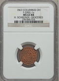 Civil War Merchants, 1863 H. Schreiner, Groceries, Columbus, OH MS63 Red and Brown NGC.Fuld-OH200G-1a....