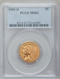 Indian Half Eagles: , 1909-D $5 MS62 PCGS. PCGS Population (9056/12321). NGC Census:(9702/10469). Mintage: 3,423,560. Numismedia Wsl. Price for ...