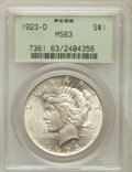 Peace Dollars: , 1923-D $1 MS63 PCGS. PCGS Population (1496/1830). NGC Census:(919/1260). Mintage: 6,811,000. Numismedia Wsl. Price for pro...