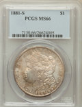 Morgan Dollars: , 1881-S $1 MS66 PCGS. PCGS Population (12077/1694). NGC Census:(16232/4213). Mintage: 12,760,000. Numismedia Wsl. Price for...