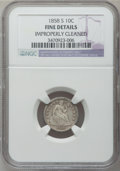 Seated Dimes: , 1858-S 10C -- Improperly Cleaned -- NGC Details. Fine. NGC Census:(1/22). PCGS Population (3/52). Mintage: 60,000. Numisme...