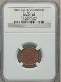 Civil War Merchants, (1861-65) T.J. Quinlan, Cleveland, OH MS63 Red and Brown NGC.Fuld-OH175L-1a....