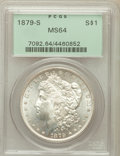 Morgan Dollars: , 1879-S $1 MS64 PCGS. PCGS Population (35568/30967). NGC Census:(35961/30441). Mintage: 9,110,000. Numismedia Wsl. Price fo...