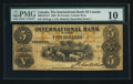 Canadian Currency: , Toronto, CW - The International Bank of Canada $5 Sep. 15, 1858 Ch. # 380-10-12-14. ...