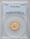Indian Quarter Eagles: , 1927 $2 1/2 MS62 PCGS. PCGS Population (2634/5087). NGC Census:(4862/6771). Mintage: 388,000. Numismedia Wsl. Price for pr...