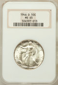 Walking Liberty Half Dollars: , 1946-D 50C MS65 NGC. NGC Census: (6403/2264). PCGS Population(8993/1886). Mintage: 2,151,000. Numismedia Wsl. Price for pr...