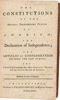 Books:Americana & American History, [Americana]. The Constitutions of the Several Independent Statesof America the Declaration of Independence the Articles...
