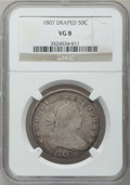 Early Half Dollars: , 1807 50C Draped Bust VG8 NGC. NGC Census: (29/1621). PCGSPopulation (43/1189). Mintage: 301,076. Numismedia Wsl. Pricefor...