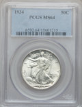 Walking Liberty Half Dollars, 1934 50C MS64 PCGS and a 1937 MS64 PCGS.... (Total: 2 coins)