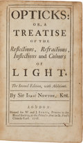 Books:Science & Technology, Sir Isaac Newton. Opticks: or, a Treatise of theReflections, Refractions, Inflections, and Colours of Light.L...