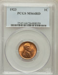 Lincoln Cents: , 1923 1C MS64 Red PCGS. PCGS Population (278/301). NGC Census:(113/113). Mintage: 74,723,000. Numismedia Wsl. Price for pro...