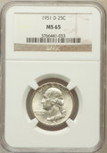 Washington Quarters: , 1951-D 25C MS65 NGC. NGC Census: (532/755). PCGS Population(848/509). Mintage: 35,354,800. Numismedia Wsl. Price for probl...