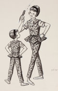 Mainstream Illustration, MAXINE MCCAFFREY (American, 20th Century). A group of 20Blumenthal Mfg. Co. shirt and blouse preliminary sketches. Ink... (Total: 20 Items)