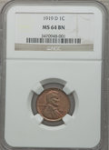 Lincoln Cents, 1919-D 1C MS64 Brown NGC and a 1931-D MS63 Red and Brown NGC....(Total: 2 coins)