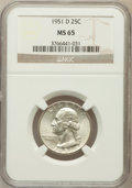 Washington Quarters: , 1951-D 25C MS65 NGC. NGC Census: (535/756). PCGS Population(850/520). Mintage: 35,354,800. Numismedia Wsl. Price for probl...