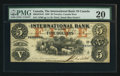 Canadian Currency: , Toronto, CW - The International Bank of Canada $5 Sep. 15, 1858 Ch. # 380-10-10-16. ...