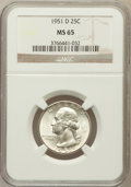 Washington Quarters: , 1951-D 25C MS65 NGC. NGC Census: (531/755). PCGS Population(846/510). Mintage: 35,354,800. Numismedia Wsl. Price for probl...