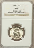 Washington Quarters: , 1950-D 25C MS65 NGC. NGC Census: (403/710). PCGS Population(895/528). Mintage: 21,075,600. Numismedia Wsl. Price for probl...