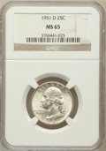 Washington Quarters: , 1951-D 25C MS65 NGC. NGC Census: (527/743). PCGS Population(840/496). Mintage: 35,354,800. Numismedia Wsl. Price for probl...