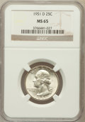 Washington Quarters: , 1951-D 25C MS65 NGC. NGC Census: (531/755). PCGS Population(846/512). Mintage: 35,354,800. Numismedia Wsl. Price for probl...