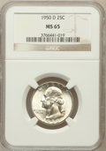 Washington Quarters: , 1950-D 25C MS65 NGC. NGC Census: (401/705). PCGS Population(891/522). Mintage: 21,075,600. Numismedia Wsl. Price for probl...