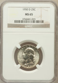 Washington Quarters: , 1950-D 25C MS65 NGC. NGC Census: (401/706). PCGS Population(891/524). Mintage: 21,075,600. Numismedia Wsl. Price for probl...