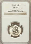 Washington Quarters: , 1950-D 25C MS65 NGC. NGC Census: (401/706). PCGS Population(893/525). Mintage: 21,075,600. Numismedia Wsl. Price for probl...