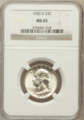 Washington Quarters: , 1950-D 25C MS65 NGC. NGC Census: (403/710). PCGS Population(893/525). Mintage: 21,075,600. Numismedia Wsl. Price for probl...