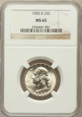 Washington Quarters: , 1950-D 25C MS65 NGC. NGC Census: (400/705). PCGS Population(891/521). Mintage: 21,075,600. Numismedia Wsl. Price for probl...