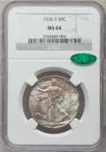 Walking Liberty Half Dollars: , 1936-S 50C MS64 NGC. CAC. NGC Census: (435/612). PCGS Population(726/901). Mintage: 3,884,000. Numismedia Wsl. Price for p...