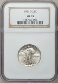 Standing Liberty Quarters: , 1924-D 25C MS65 NGC. NGC Census: (429/285). PCGS Population(489/96). Mintage: 3,112,000. Numismedia Wsl. Price for problem...