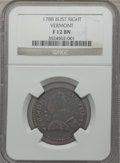 Colonials: , 1788 COPPER Vermont Copper, Bust Right Fine 12 NGC. NGC Census:(10/33). PCGS Population (18/140). ...