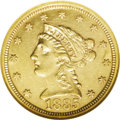 Liberty Quarter Eagles: , 1885 $2 1/2 AU58 NGC. This semi-prooflike quarter eagle exhibitspleasing golden-rose color with a needle sharp strike. Sca...