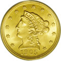 Liberty Quarter Eagles: , 1905 $2 1/2 MS66 PCGS. Well struck with extremely bright satinyluster, pretty yellow-orange color, and a total absence of ...