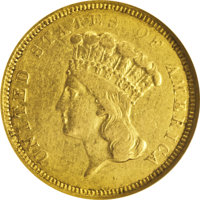 1854-O $3 XF40 NGC. A collectible example of the sole O-mint three dollar gold piece. Luster emerges from design recesse...