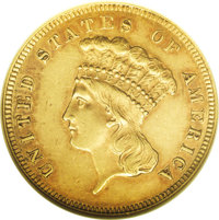 1859 $3 MS60 NGC. This sharply struck example displays shimmering peach-tinged luster. There are no mentionable marks. O...