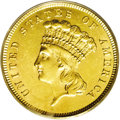 Three Dollar Gold Pieces: , 1860 $3 MS62 PCGS. Lustrous light yellow-gold with frosty surfacesand minor grade-consistent abrasions. Despite a modest n...