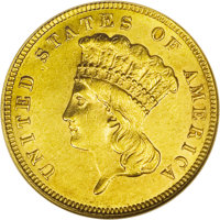 1887 $3 AU58 NGC. This slider has ample bright luster, and only an inconspicuous vertical mark on the cheek merits menti...