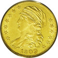 Early Half Eagles: , 1809/8 $5 AU50 PCGS. B. 1-A, Miller-108, R.3. The only dies forthis scarce date Capped Bust half eagle. Rotation beneath a...